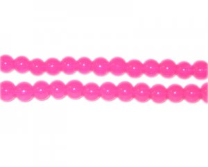 4mm Hot Pink Jade-Style Glass Bead, approx. 105 beads