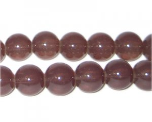 12mm Cocoa Jade-Style Glass Bead, approx. 18 beads
