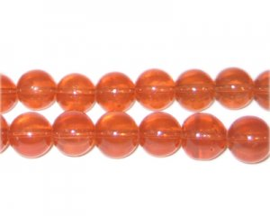 10mm Burnt Orange Jade-Style Glass Bead, approx. 21 beads