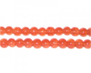 6mm Burnt Orange Jade-Style Glass Bead, approx. 77 beads