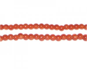 4mm Burnt Orange Jade-Style Glass Bead, approx. 105 beads