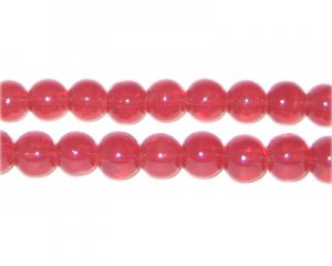 8mm Tomato Jade-Style Glass Bead, approx. 55 beads