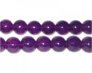 10mm Purple Jade-Style Glass Bead, approx. 21 beads