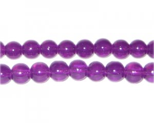 8mm Purple Jade-Style Glass Bead, approx. 55 beads
