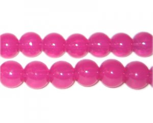 10mm Magenta Jade-Style Glass Bead, approx. 21 beads