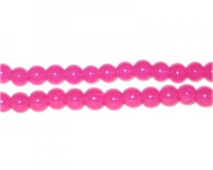 6mm Magenta Jade-Style Glass Bead, approx. 77 beads