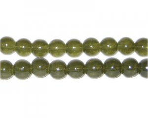 8mm Khaki Jade-Style Glass Bead, approx. 55 beads
