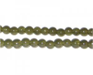6mm Khaki Jade-Style Glass Bead, approx. 77 beads