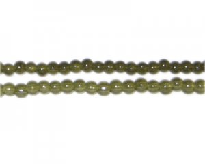 4mm Khaki Jade-Style Glass Bead, approx. 105 beads