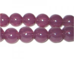12mm Plum Jade-Style Glass Bead, approx. 18 beads