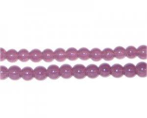6mm Plum Jade-Style Glass Bead, approx. 77 beads