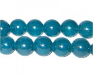12mm Deep Aqua Jade-Style Glass Bead, approx. 18 beads