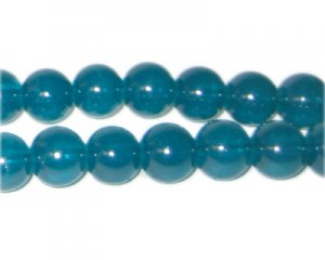 10mm Deep Aqua Jade-Style Glass Bead, approx. 21 beads