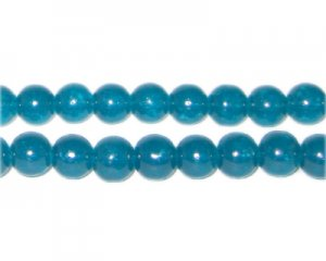 8mm Deep Aqua Jade-Style Glass Bead, approx. 55 beads