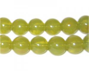 12mm Citrine Jade-Style Glass Bead, approx. 18 beads