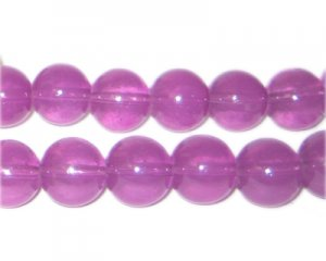12mm Crimson Jade-Style Glass Bead, approx. 18 beads