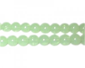 8mm Soft Green Jade-Style Glass Bead, approx. 55 beads