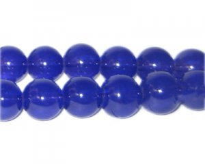 12mm Navy Jade-Style Glass Bead, approx. 18 beads