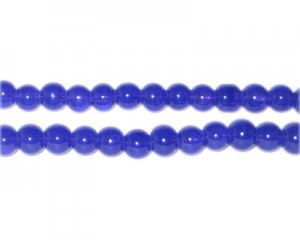 6mm Navy Jade-Style Glass Bead, approx. 77 beads