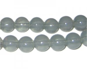 12mm Silver Jade-Style Glass Bead, approx. 18 beads