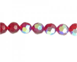 "12mm Red AB Finish Faceted Glass Bead, 13"" string"