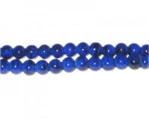 6mm Lapis-Style Glass Bead, approx. 48 beads