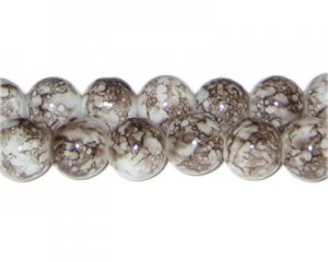 12mm Snowflake Jasper-Style Glass Bead, approx. 18 beads