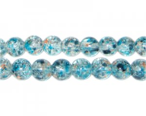 8mm Rain and Fire Crackle Season Glass Bead, approx. 53 beads