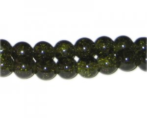10mm Olive Green Crackle Bead, approx. 21 beads