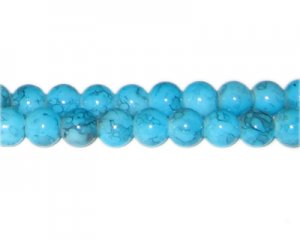 8mm Turquoise-Style Glass Bead, approx. 55 beads
