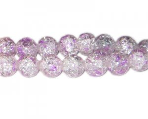 12mm Soft Lavender Crackle Spray Glass Bead, approx. 18 beads