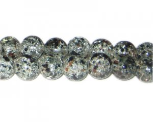 12mm Black n Brown Crackle Season Glass Bead, approx. 14 beads