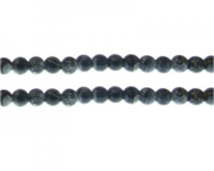6mm Black Swirl Marble-Style Glass Bead, approx. 48 beads