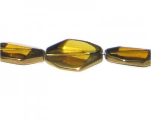 26 x 18mm Gold Vintage-Style Polygon Glass Bead, approx. 3 beads