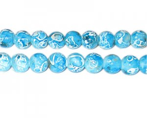 10mm Turquoise Swirl Marble-Style Glass Bead, approx. 22 beads
