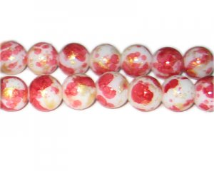 12mm Red GoldLeaf-Style Glass Bead, approx. 17 beads