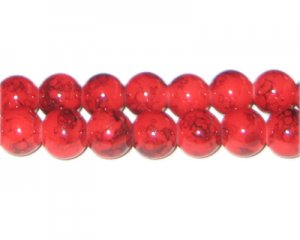 10mm Red Marble-Style Glass Bead, approx. 21 beads
