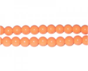 8mm Bright Orange Team and School Glass Bead, approx. 56 beads