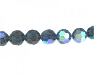 "12mm Midnight Blue AB Finish Faceted Glass Bead, 13"" string"