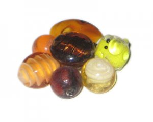 Approx. 1.5oz. Brown/Gold/Orange/Yellow Lampwork Glass Bead Mix3