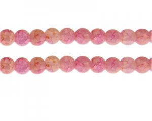 10mm Pink/Yellow Duo-Style Glass Bead, approx. 16 beads