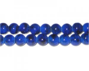 8mm Lapis-Style Glass Bead, approx. 55 beads