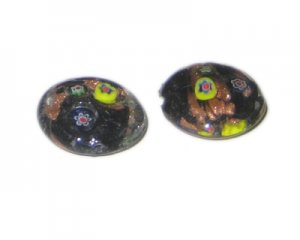 26mm Black Floral Handmade Lampwork Glass Bead, 2 beads