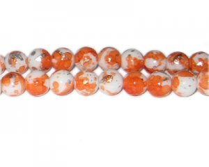 10mm Orange SilverLeaf-Style Glass Bead, approx. 21 beads