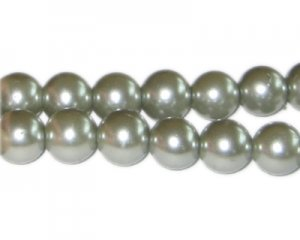 12mm Silver Green Glass Pearl Bead, approx. 18 beads