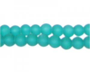 8mm Aqua Sea/Beach-Style Glass Bead, approx. 35 beads