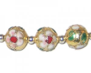 12mm Deep Gold Round Cloisonne Bead, 4 beads