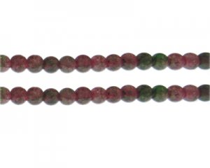 8mm Dark Pink/Dark Green Duo-Style Glass Bead, approx. 35 beads
