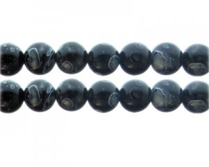 12mm Black Swirl Marble-Style Glass Bead, approx. 14 beads