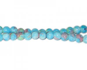 8mm Turquoise Marble-Style Glass Bead, approx. 53 beads